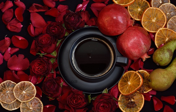 Picture coffee, roses, Cup, fruit