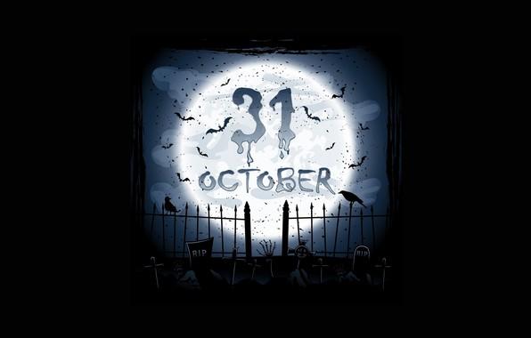 Picture Halloween, moon, holidays, minimalism, birds, bats, black background, crows, crosses, tombs, tombstones, 31 october