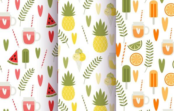 Picture summer, background, texture, summer, fruit, vintage, patterns, Leaves, Fruit, Juice, Pineapple
