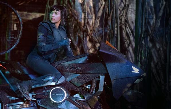 Picture Scarlett Johansson, cinema, Honda, mecha, movie, film, motorbike, Ghost In The Shell, Major