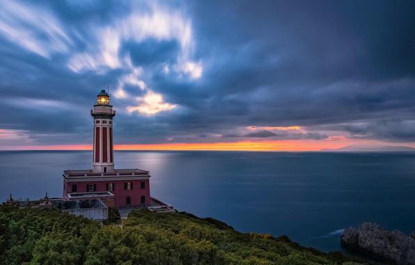 Picture sea, the sky, clouds, sunset, coast, lighthouse, Italy, Italy, Campania, Capri, Capri, The Bay of …