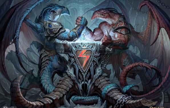 Picture dragons, art, coat of arms, Dragon Eternity, arm wrestling, Andrew Kosinski, Dragons Of Eternity