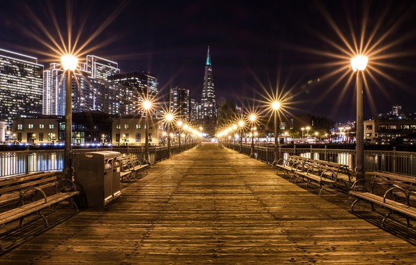 Picture night, bridge, lights, river, building, home, lights, CA, San Francisco, USA, benches, California, Pier