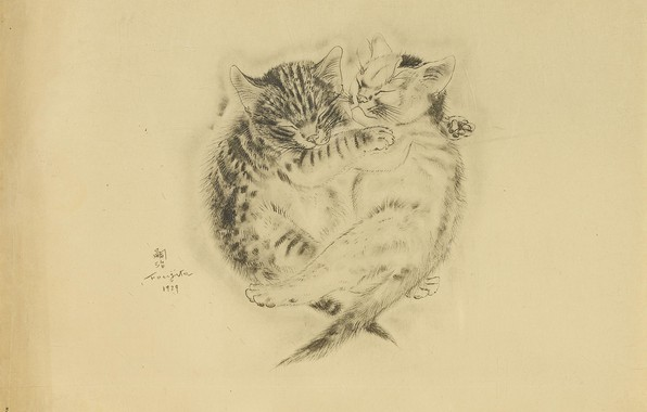 Picture friendship, kittens, brothers, sleep, 1929, Tsuguharu, Fujita, The Book Of Cats