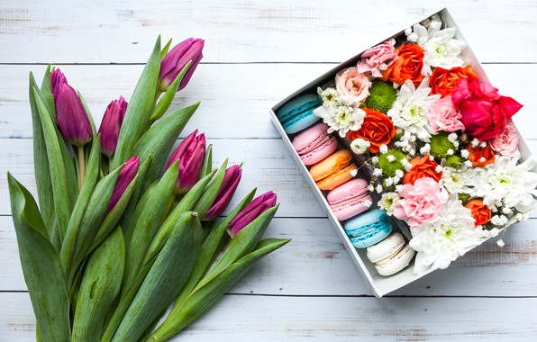 Picture box, gift, roses, bouquet, tulips, flower, beautiful, decor, spring, macaron