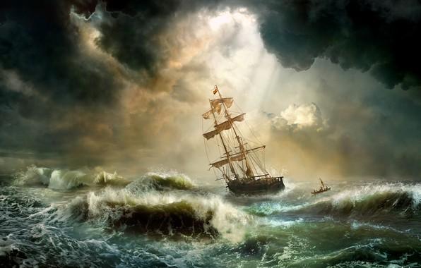 Picture wave, storm, element, ship, Storm, roll, Mr Menuhin