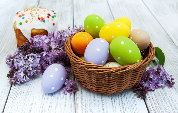 Picture flowers, Easter, cake, cake, flowers, cakes, lilac, glaze, spring, Easter, eggs, decoration, Happy, lilac, the …