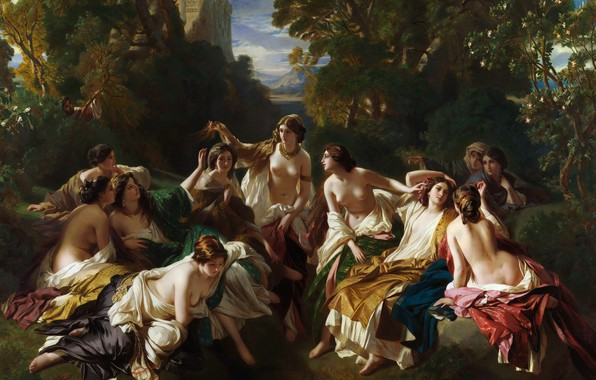 Picture erotic, picture, mythology, Franz Xaver Winterhalter, Franz Xaver Winterhalter, Florinda