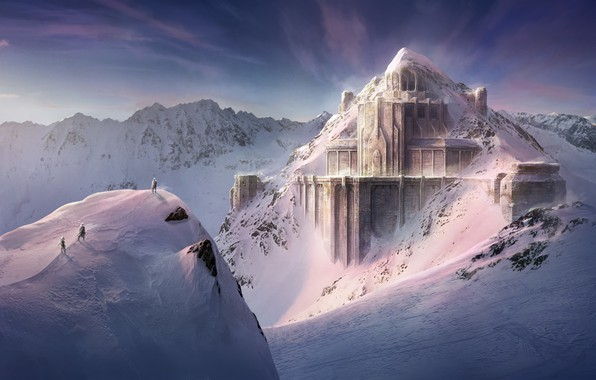 Picture snow, mountains, construction, Dwarven Fortress, The Lord of The Rings