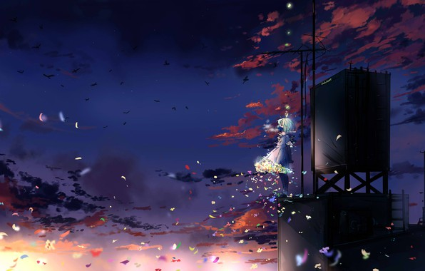 Picture butterfly, birds, girl, gas mask, antenna, blue hair, art, the night sky, on the roof, …