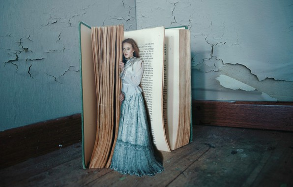 Picture girl, the situation, dress, book