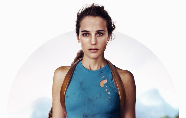 Picture white background, Tomb Raider, Lara Croft, poster, Alicia Vikander, Alicia Vikander