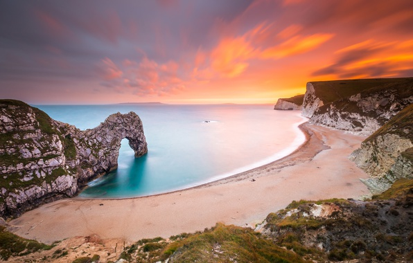 Picture beach, sea, sunset, rocks, shore, nature landscape