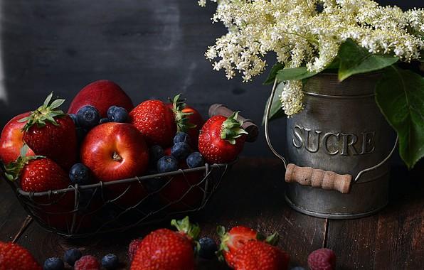 Picture flowers, berries, bouquet, fruit, still life