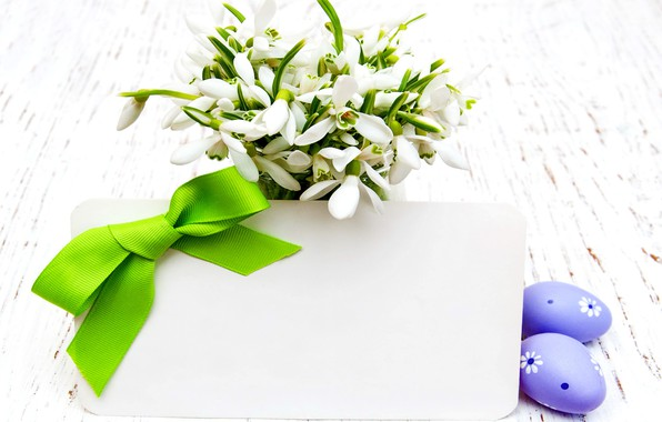 Picture flowers, spring, snowdrops, Easter, white, flowers, spring, Easter, eggs