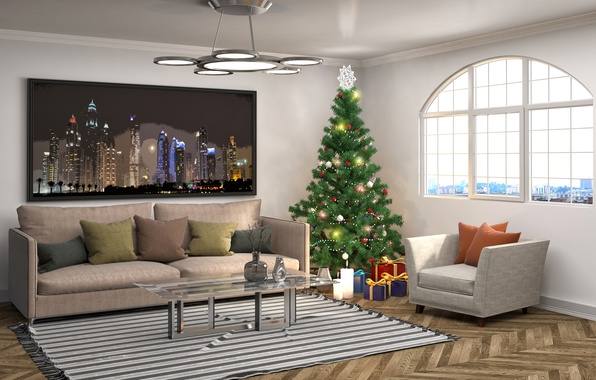 Picture design, sofa, interior, pillow, New Year, chandelier, tree
