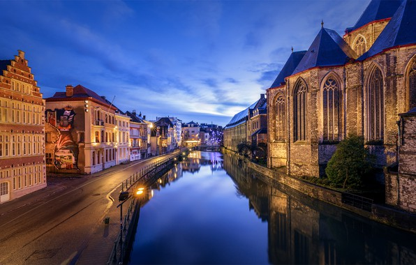 Picture the evening, channel, Belgium, Ghent