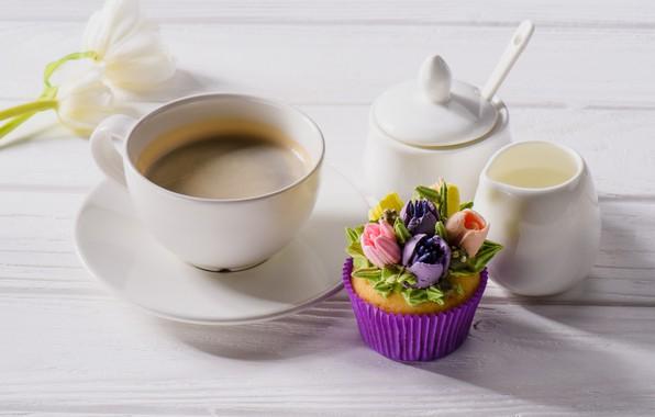 Picture coffee, the sweetness, cake, cream