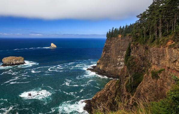 Picture sea, rock, surf, Oregon, multi monitors, ultra hd, Cape Meares