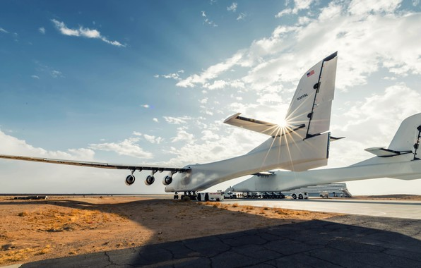 Picture The sun, The sky, The plane, Light, The plane, 351, Stratolaunch, Stratolaunch Model 351, Model ...