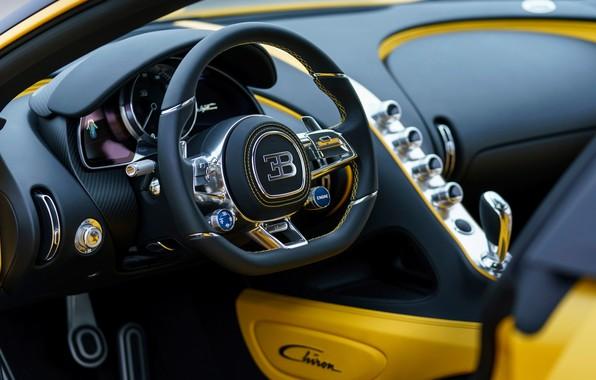 Picture Bugatti, salon, 2018, Chiron, Yellow and Black