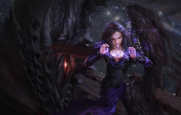 Picture dark, girl, fantasy, Dragon, magic, wings, red eyes, symbol, brunette, artwork, wizard, fantasy art, pentacle