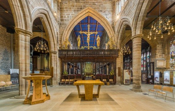 Photo wallpaper interior, Wakefield Cathedral Rood Screen, West Yorkshire, UK