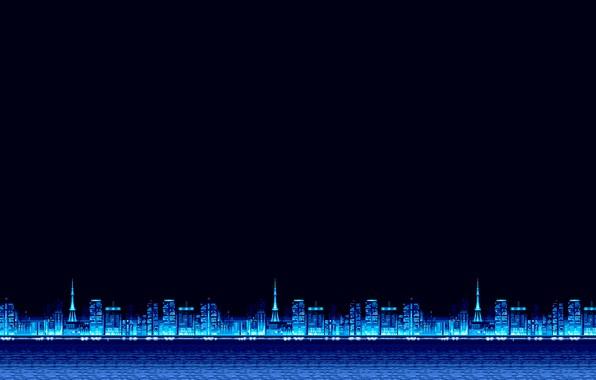 Picture Minimalism, Blue, The city, Background, Pixels, 8bit, Electronic, 8bit, 8 bit, bit, Synth, Retrowave, Sinti, …