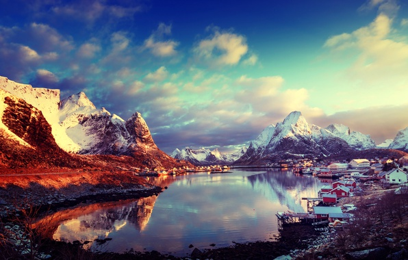 Picture winter, the sky, the sun, clouds, snow, mountains, home, Norway, Bay, The Lofoten Islands, Lofoten