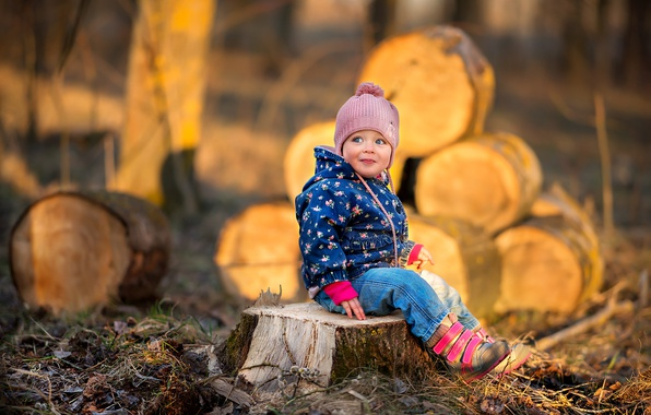 Picture nature, stump, baby, child, logs, stump