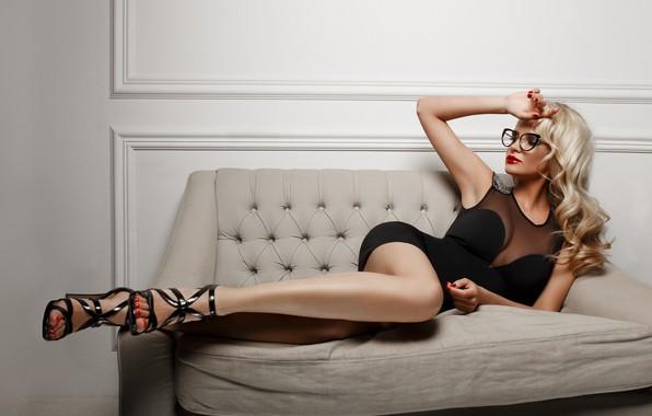 Picture pose, sofa, feet, model, hand, dress, glasses, curls, Marina, Alexander Sasin