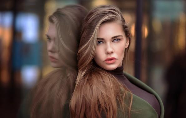 Wallpaper Face Model Blonde Long Hair Blue Eyes: Wallpaper Photo, Looking At Viewer, Model, Face, Girl