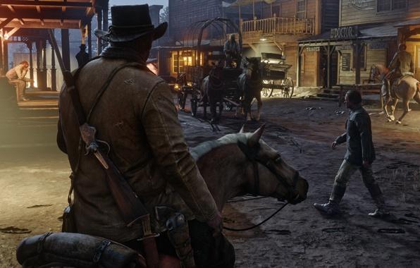 Picture the city, gun, horse, hat, coach, cowboy, the gun, revolver, wild West, Red Dead Redemption …