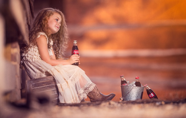 Picture mood, dress, girl, bottle, red, curls, redhead, Coca-Cola, bokeh, Coca-Cola, bucket