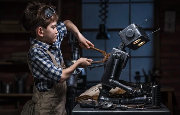 Picture robot, child, imagination, sci fi