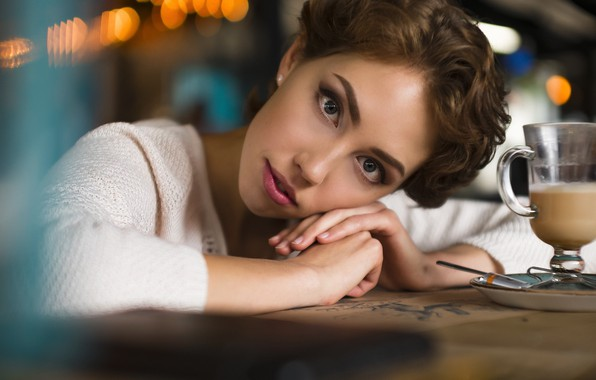 Picture cafe, Dasha, bokeh, Dmitry Belyaev
