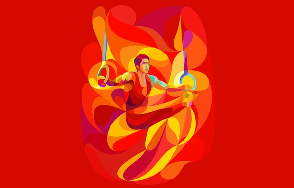 Picture gymnastics, ring, athlete, gymnast, low poly