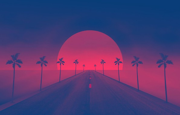 Photo wallpaper Synthpop, Synth, Retrowave, Synth-pop, Sunset, Road, Darkwave, Palm trees, The sun, Synth pop, Synthwave