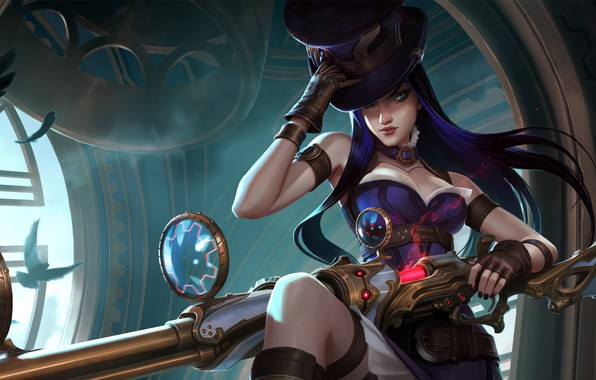 Picture girl, fantasy, game, long hair, weapon, hat, blue eyes, League of Legends, digital art, rifle, ...