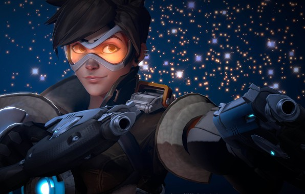 Picture girl, gun, pistol, game, weapon, Overwatch, Tracer, by lemon100