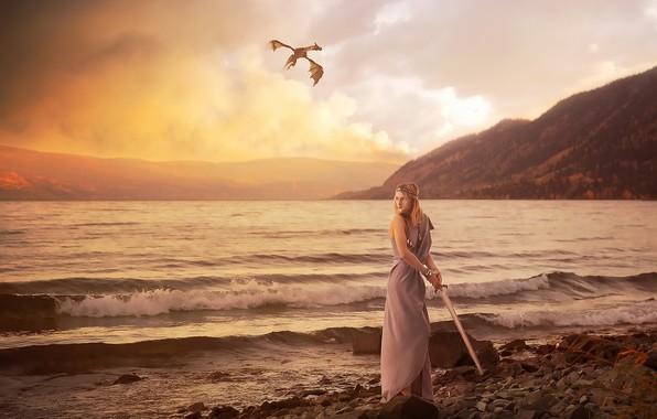 Picture sea, girl, dragon, sword