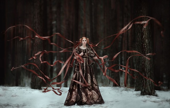 Picture forest, girl, snow, style, tape, mood, dress, Zlata, Maria Lipina