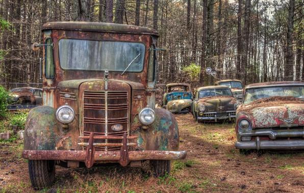 Photo wallpaper machine, rust, scrap