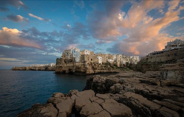 Picture sea, landscape, stones, rocks, home, Italy, Polignano a Mare