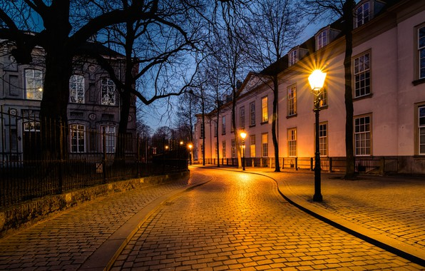 Picture street, the evening, lights, Netherlands, Holland, Breda, Nonsense