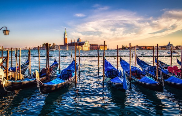 Picture city, sky, sea, Italy, sunset, water, clouds, Venice, pier, buildings, architecture, boat, Italia, Venice, cityscape, …