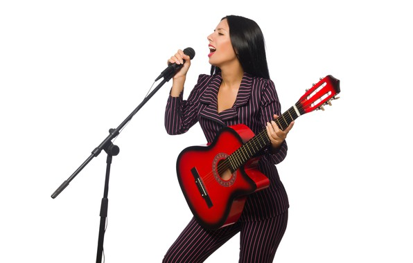 Picture girl, guitar, makeup, brunette, hairstyle, costume, white background, microphone, singer, jacket, striped, pants, sings