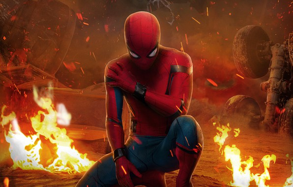 Picture fiction, fire, frame, sparks, costume, comic, Spider-Man, Peter Parker, Spider-Man, Tom Holland, Tom Holland, Spider-Man: …