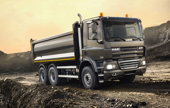 Picture dirt, body, primer, breed, DAF, DAF, dump truck, 6x4, platform, DAF CF85.460 FAT, dark gray
