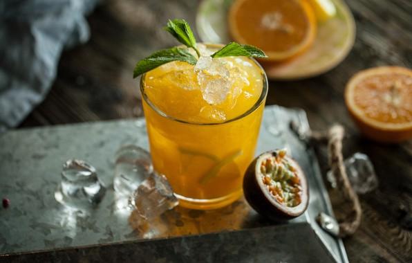 Picture orange, ice, juice, drink, fruit, mint, passion fruit